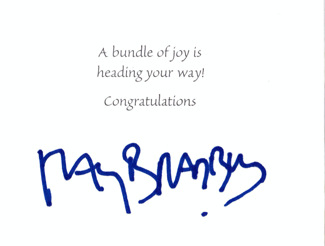 image of birthday card Ray Bradbury sent to an unborn fan